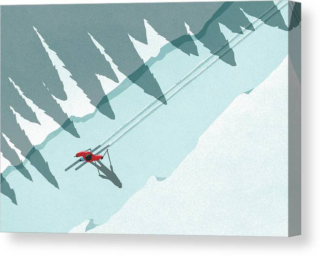 Ski Pole Canvas Print featuring the digital art Illustration Of Man Skiing During by Malte Mueller