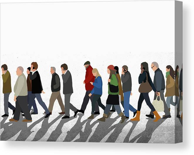 Shadow Canvas Print featuring the digital art Illustration Of People Walking On by Malte Mueller