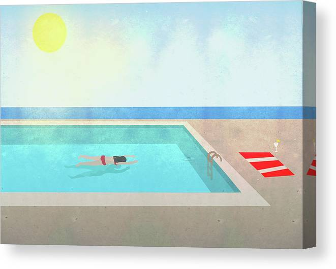 Recreational Pursuit Canvas Print featuring the digital art Illustration Of Woman Swimming In Pool by Malte Mueller