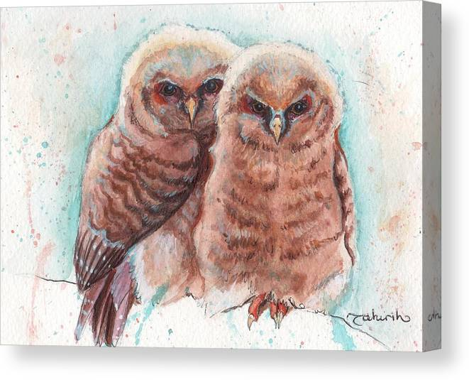 Wildlife Canvas Print featuring the painting In Cahoots by Tahirih Goffic