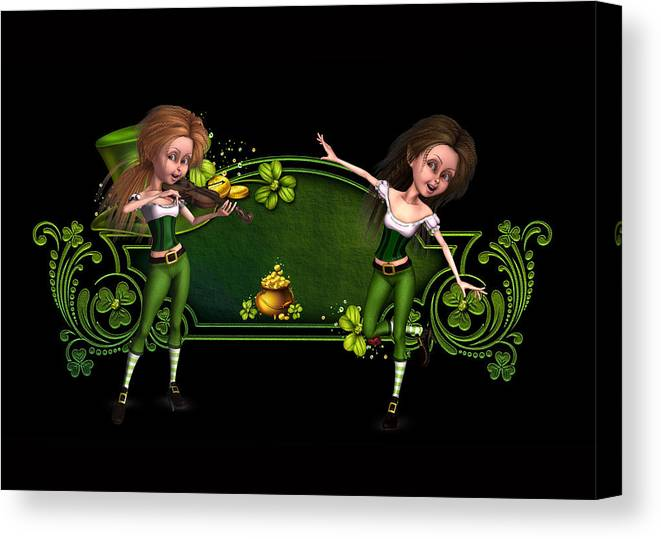 Irish Dancers Canvas Print featuring the digital art Irish dancers ii by John Junek