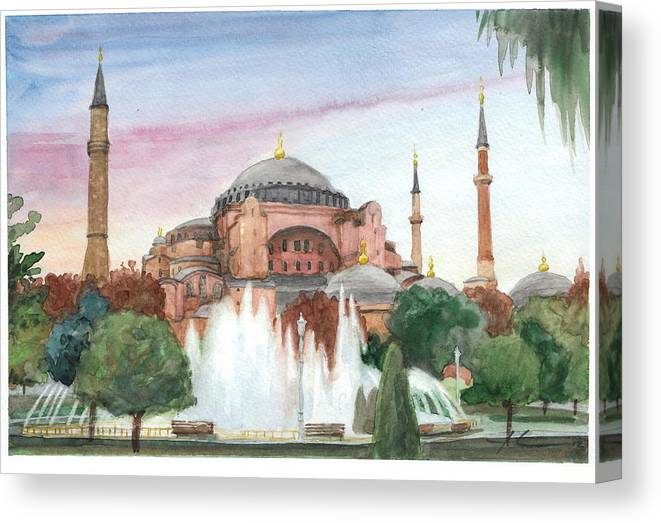 <a Href=http://miketheuer.com Target =_blank>www.miketheuer.com</a> Istanbul Mosque Watercolor Painting Canvas Print featuring the drawing Istanbul Mosque Watercolor Painting by Mike Theuer