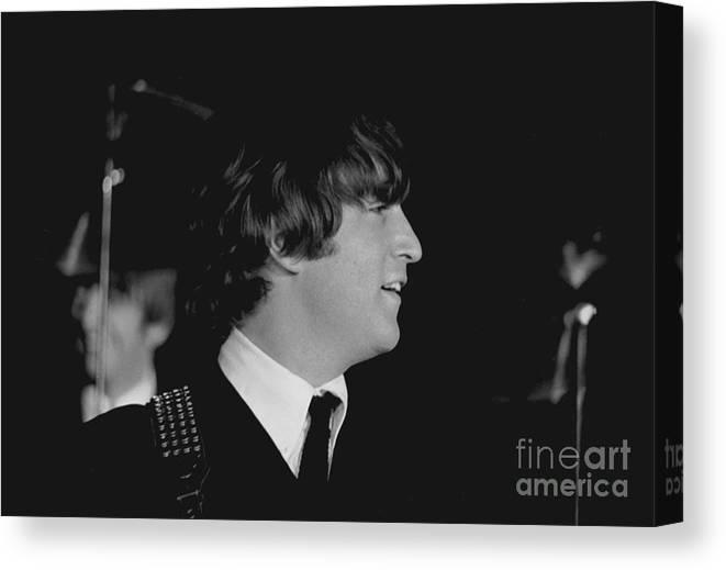 Beatles Canvas Print featuring the photograph John Lennon, Beatles Concert, 1964 by Larry Mulvehill