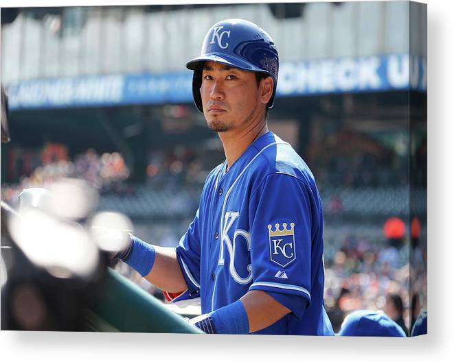 American League Baseball Canvas Print featuring the photograph Kansas City Royals V Detroit Tigers by Gregory Shamus