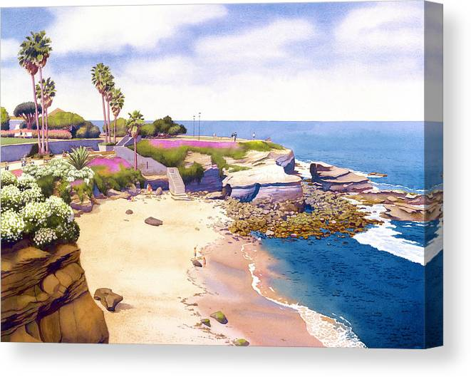La Jolla Canvas Print featuring the painting La Jolla Cove by Mary Helmreich