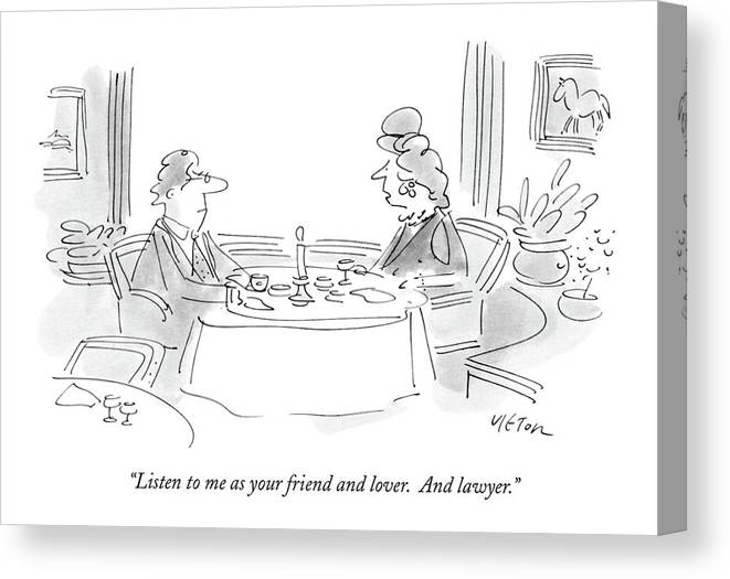 Relationships Canvas Print featuring the drawing Listen To Me As Your Friend And Lover by Dean Vietor