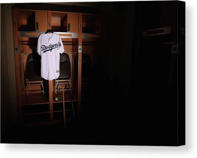 Media Day Canvas Print featuring the photograph Los Angeles Dodgers Photo Day by Christian Petersen
