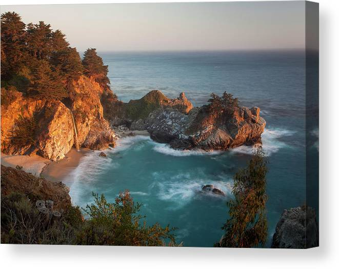 Scenics Canvas Print featuring the photograph Mcway Falls At Sunset by Sean Duan