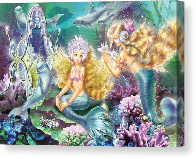 Mirmaids Mirror Canvas Print featuring the photograph Mermaids Mirror by MGL Meiklejohn Graphics Licensing