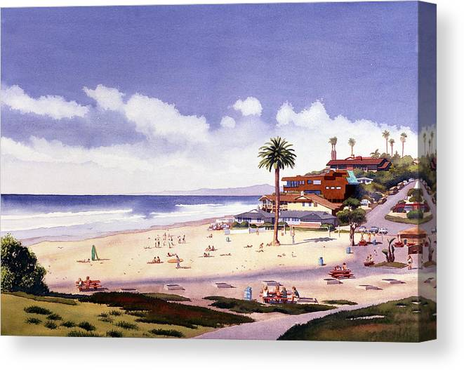 Beach Canvas Print featuring the painting Moonlight Beach Encinitas by Mary Helmreich