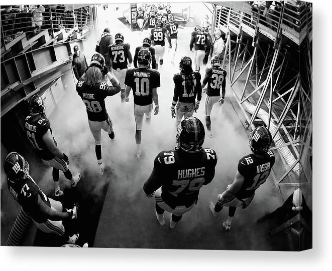 People Canvas Print featuring the photograph New England Patriots V New York Giants by Al Bello