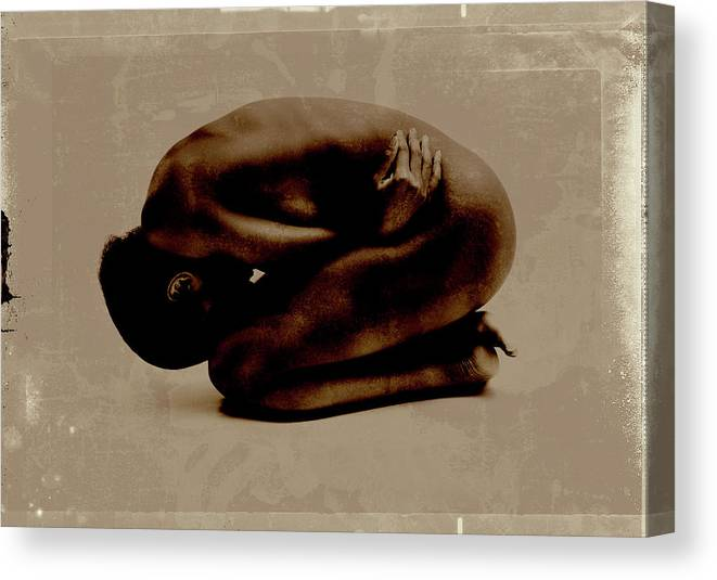 People Canvas Print featuring the photograph Nude Woman Kneeling Curled Up by Win-initiative