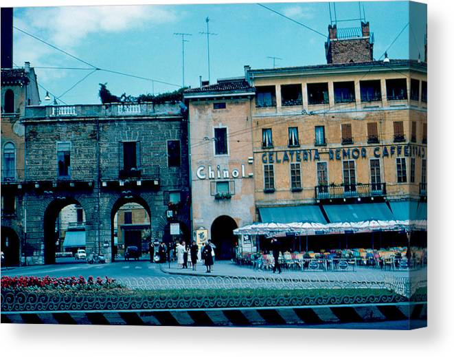 Vicenza Canvas Print featuring the photograph Old City Gate Vicenza 2 1962 by Cumberland Warden