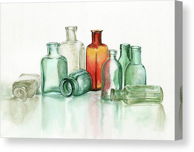 Material Canvas Print featuring the photograph Old Pharmacys Glassware by Sergey Ryumin
