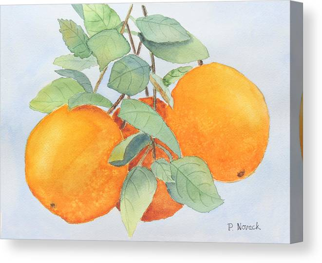 Orange Canvas Print featuring the painting Orange Trio by Patricia Novack