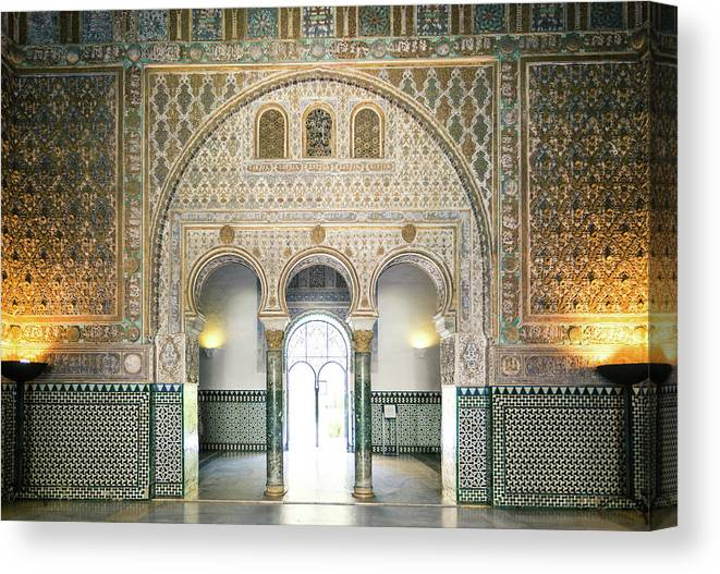 Arch Canvas Print featuring the photograph Ornate Door Inside The Alcazar Palace by Matteo Colombo