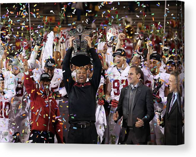 Celebration Canvas Print featuring the photograph Pac 12 Championship - Stanford V by Christian Petersen