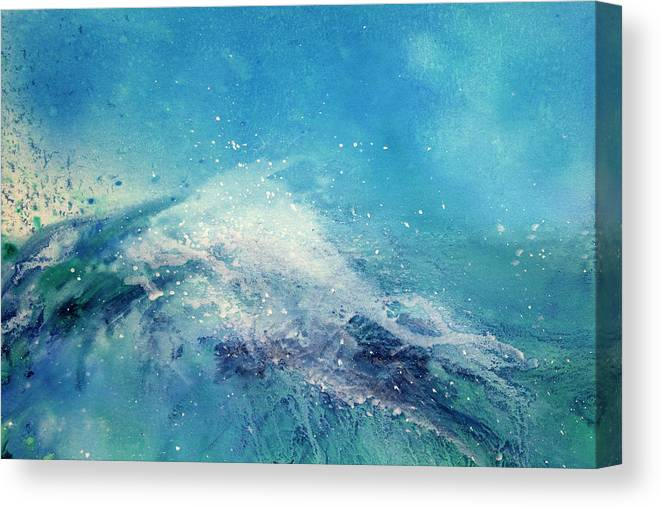 Gouache Canvas Print featuring the digital art Painting Of An Ocean Wave by Brad Rickerby
