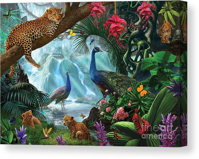 Animals Canvas Print featuring the digital art Peacocks And Leopards by MGL Meiklejohn Graphics Licensing
