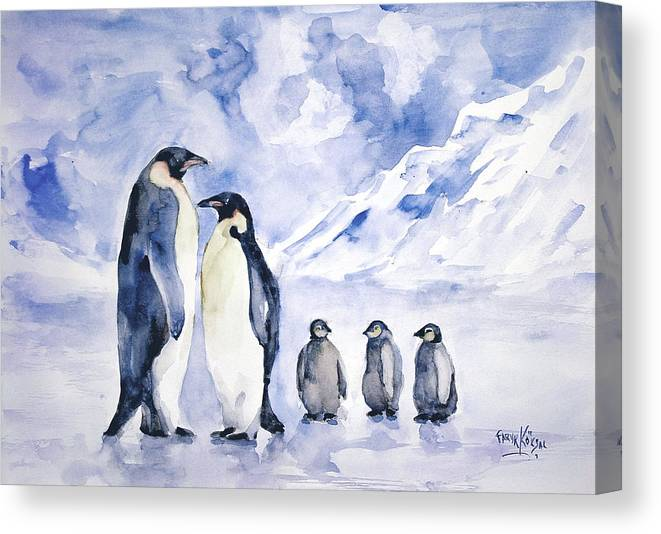 Wall Art Canvas Picture Print of Penguin Family  Framed  Ready to Hang