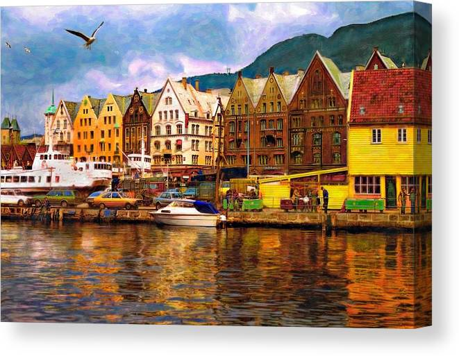 Alesund Canvas Print featuring the photograph Port Life Watercolor by Steve Harrington