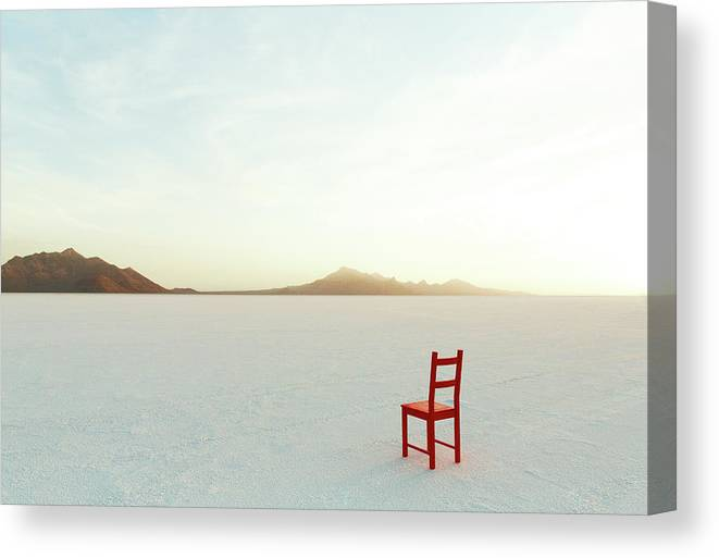 Tranquility Canvas Print featuring the photograph Red Chair On Salt Flats, Facing The by Andy Ryan