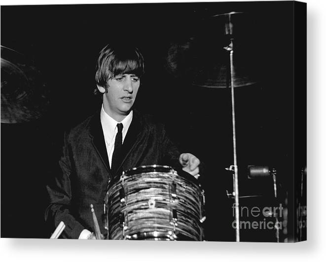 Beatles Canvas Print featuring the photograph Ringo Starr, Beatles Concert, 1964 by Larry Mulvehill