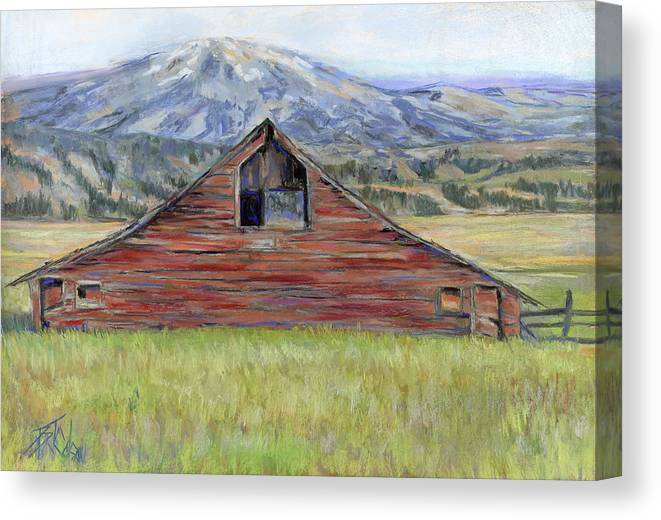 Red Barn Canvas Print featuring the painting Rocky Mountain Barn by Billie Colson
