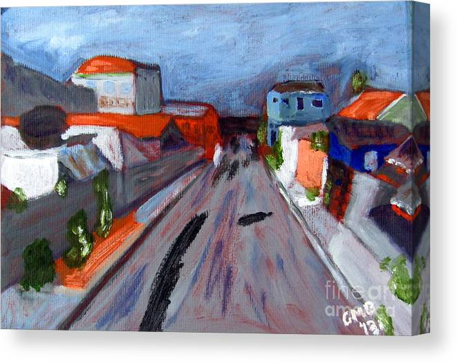 Curitiba Canvas Print featuring the painting Rua Dr Rafael Ribeiro Study IV by Greg Mason Burns