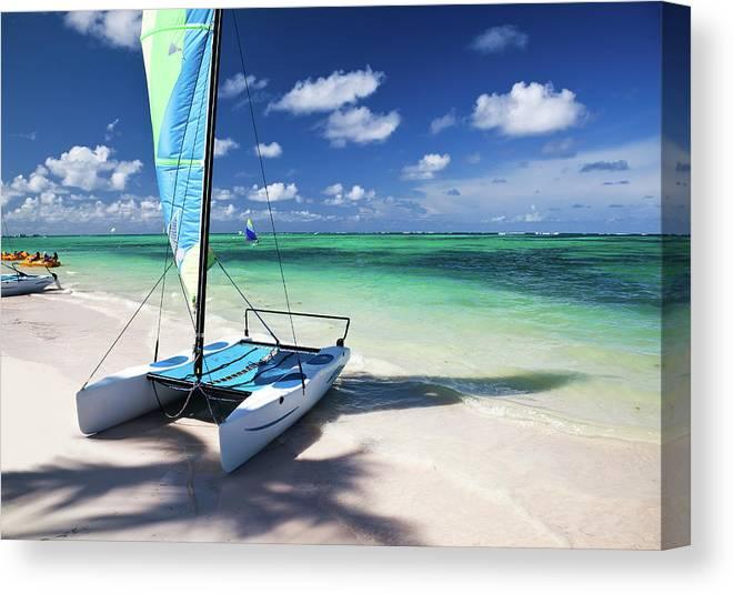 Wind Canvas Print featuring the photograph Sailboat At Caribbean Sea by Danilovi