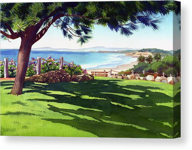 Seagrove Canvas Print featuring the painting Seagrove Park Del Mar by Mary Helmreich