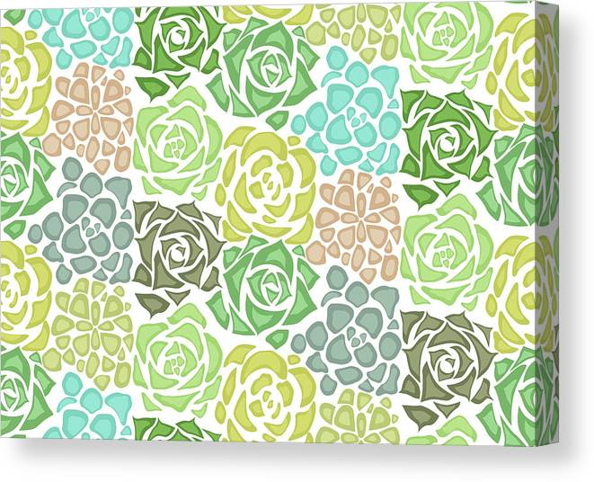 Art Canvas Print featuring the digital art Seamless Texture With Flat Succulents by Veleri