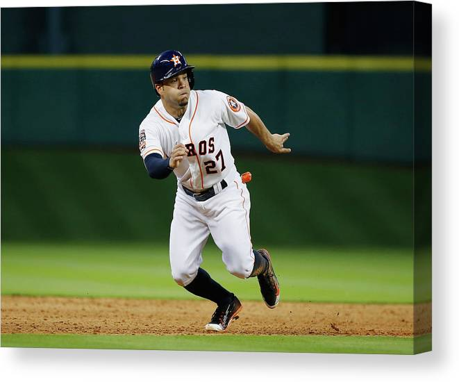 People Canvas Print featuring the photograph Seattle Mariners V Houston Astros by Scott Halleran