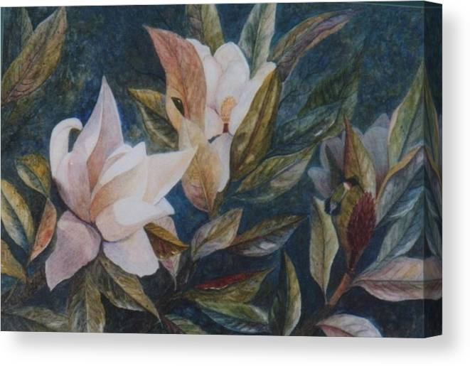 Magnolias; Humming Bird Canvas Print featuring the painting Serenity by Ben Kiger