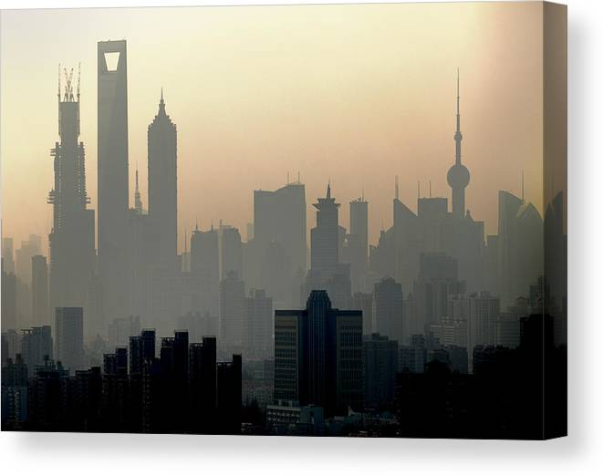 Dawn Canvas Print featuring the photograph Shanghai Skyline Three Towers And Perl by Douglas Von Roy