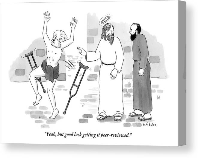#condenastnewyorkercartoon Canvas Print featuring the drawing Skeptical Monk Tells An Angel Who by Emily Flake