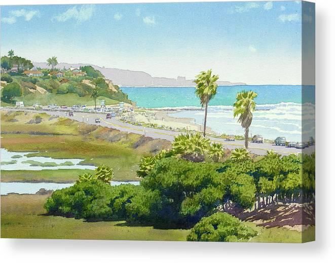 Solana Beach Canvas Print featuring the painting Solana Beach California by Mary Helmreich