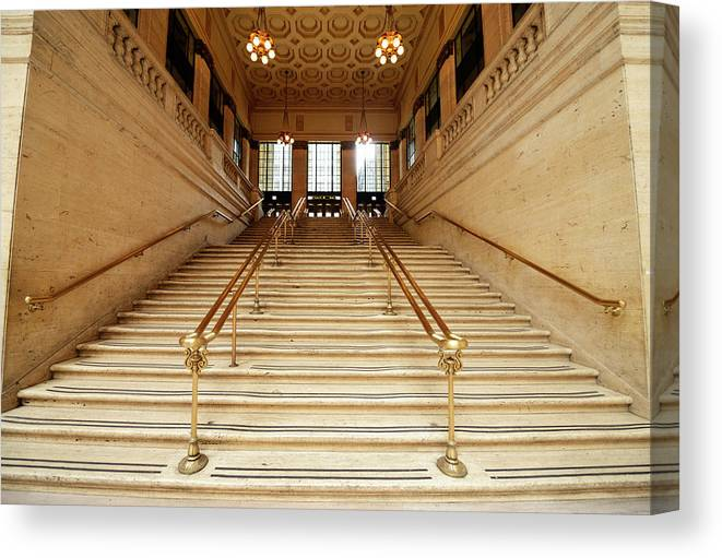 Steps Canvas Print featuring the photograph Subway Station Staircase,chicago by Lisa-blue