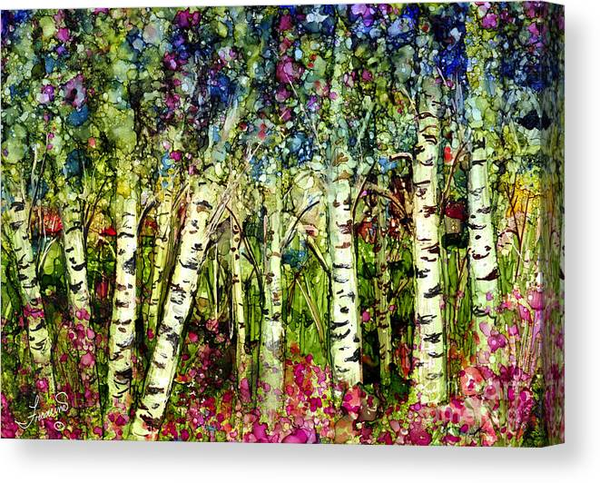 Trees Canvas Print featuring the painting Summer Birch by Francine Dufour Jones