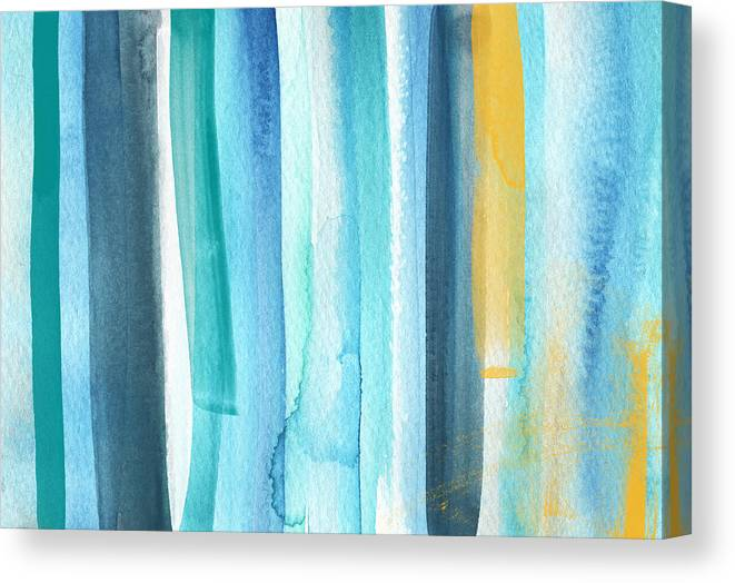 Water Canvas Print featuring the painting Summer Surf- Abstract Painting by Linda Woods