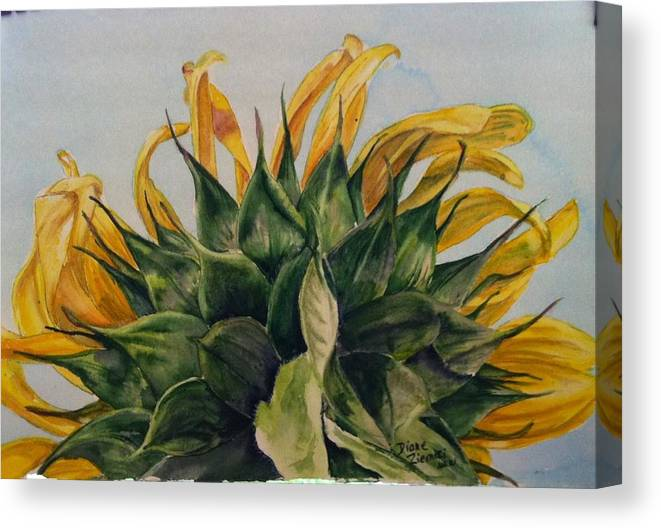 Canvas Print featuring the painting Sunflower 3 by Diane Ziemski