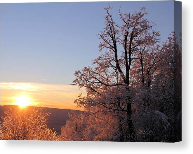 Sunset Canvas Print featuring the photograph Sunset on Ice by Carolyn Postelwait