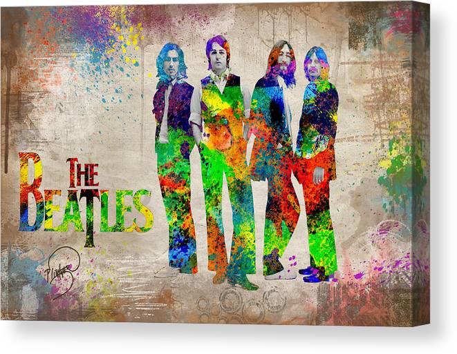 Beatles Revolution Canvas Print featuring the digital art The Beatles by Patricia Lintner