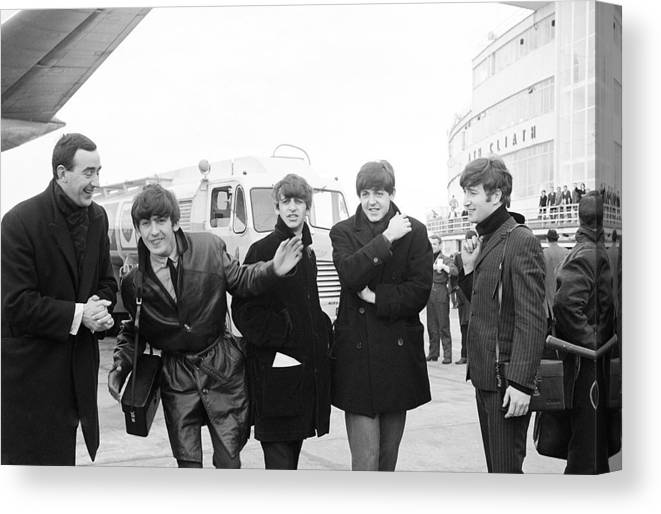 The Beatles Canvas Print featuring the photograph The Beatles in Dublin by Irish Photo Archive