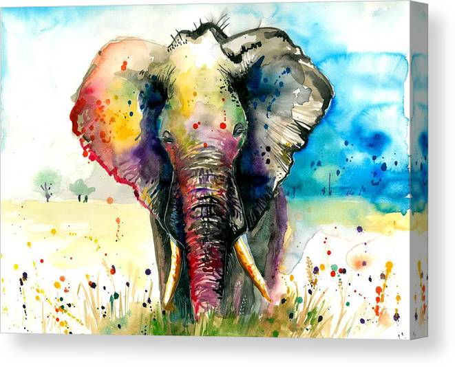 Watercolor Canvas Print featuring the painting The Rainbow Elephant - XXL Format Art Print by Tiberiu Soos