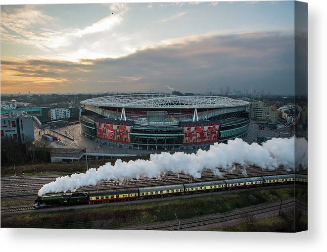The Emirates Stadium Canvas Print featuring the photograph The Flying Scotsman Travels The East by Justin Setterfield