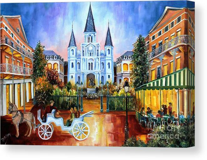 New Orleans Canvas Print featuring the painting The Hours on Jackson Square by Diane Millsap