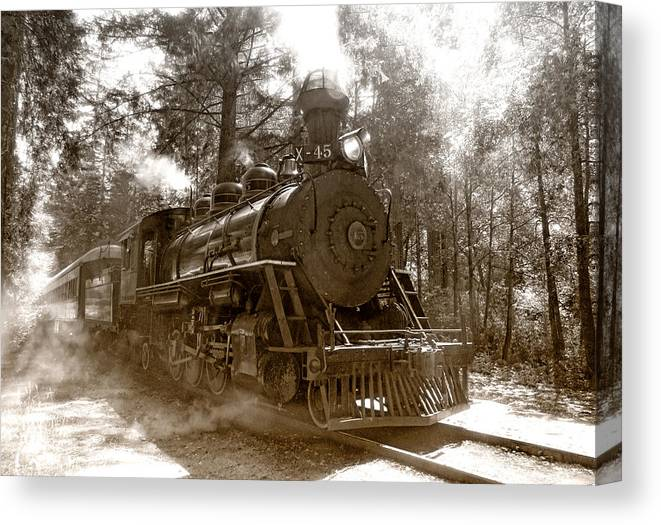 Locomotive Canvas Print featuring the photograph Time Traveler by Donna Blackhall