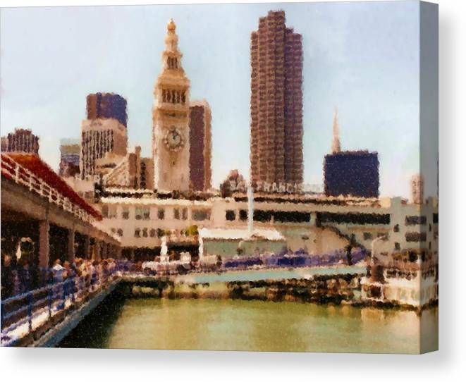 To San Francisco From Sausalito Passing Alcatraz By Ferry_painting Canvas Print featuring the digital art To San Francisco from Sausalito passing Alcatraz by Ferry_Painting by Asbjorn Lonvig