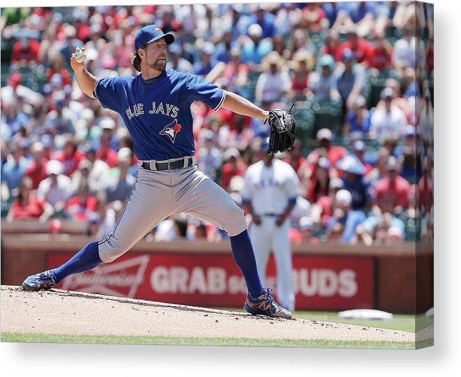 American League Baseball Canvas Print featuring the photograph Toronto Blue Jays V Texas Rangers by Brandon Wade